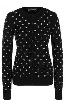 Приталенный кашемировый кардиган с круглым вырезом Dolce & Gabbana