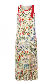 Платье-миди с цветочным принтом и плиссированной юбкой REDVALENTINO