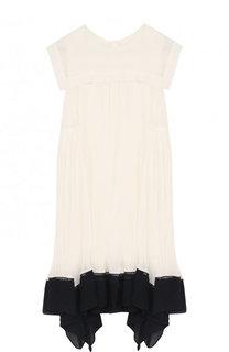 Плиссированное платье свободного кроя с асимметричной отделкой Chloé