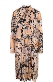 Шелковое платье-миди свободного кроя с принтом Dries Van Noten