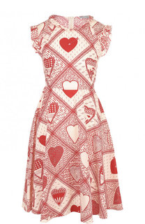 Хлопковое мини-платье с принтом и завышенной талией REDVALENTINO