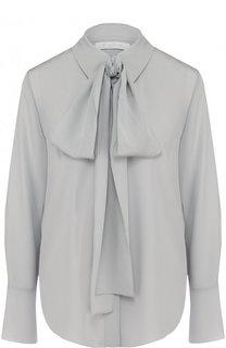 Однотонная шелковая блуза с воротником аскот Chloé