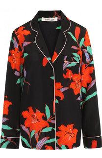 Шелковая блуза в пижамном стиле с принтом Diane Von Furstenberg