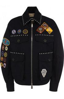 Хлопковая куртка с отложным воротником и контрастными нашивками Dsquared2