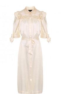 Шелковое платье-миди с оборками и поясом Simone Rocha