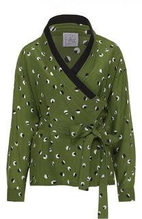 Шелковая блуза-кимоно с принтом и контрастной отделкой Stella Jean