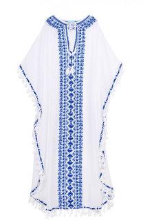 Туника с декоративными кистями и контрастной вышивкой Melissa Odabash