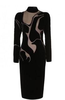 Платье-миди с высоким воротником и прозрачными вставками Tom Ford