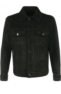 Замшевая куртка на молнии с отложным воротником Brioni