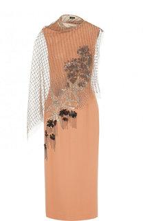 Приталенное платье-миди из вискозы с декоративной отделкой Dries Van Noten