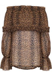 Шелковый топ свободного кроя с леопардовым принтом Saint Laurent