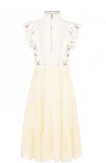 Приталенное платье-миди из смеси вискозы и шелка Chloé