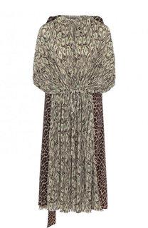 Платье асимметричного кроя с принтом и поясом Balenciaga