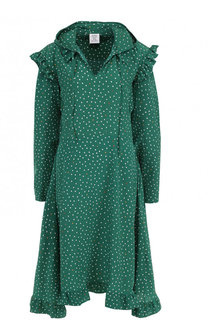 Шелковое платье-миди с капюшоном в горох Vetements