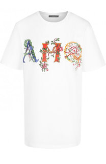 Хлопковая футболка прямого кроя с принтом Alexander McQueen