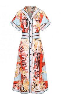 Шелковое приталенное платье-рубашка с принтом Emilio Pucci