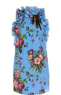 Шелковое мини-платье с принтом и оборками Gucci