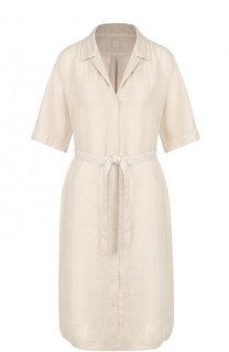 Льняное платье-миди с поясом 120% Lino
