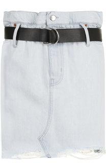 Джинсовая мини-юбка с потертостями и поясом Iro