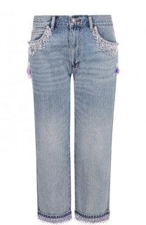 Укороченные джинсы прямого кроя с декоративной отделкой Marc Jacobs