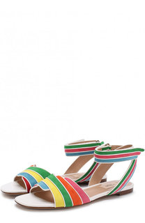 Замшевые сандалии Valentino Garavani Rainbow с кожаной отделкой Valentino