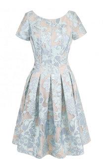 Приталенное мини-платье с защипами и коротким рукавом St. John