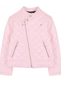 Стеганая куртка с косой молнией и воротником-стойкой Polo Ralph Lauren