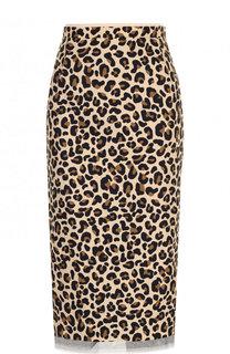 Хлопковая юбка-карандаш с леопардовым принтом No. 21