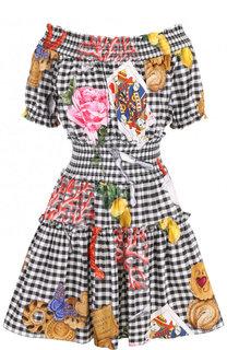 Приталенное мини-платье с открытыми плечами Dolce & Gabbana