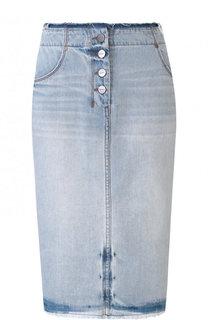 Джинсовая юбка-миди с потертостями DKNY