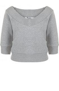Укороченный хлопковый пуловер с V-образным вырезом T by Alexander Wang