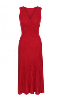 Платье из смеси шелка и хлопка с плиссированной юбкой Loro Piana