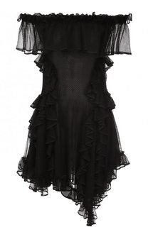 Шелковое приталенное мини-платье с оборками Alexander McQueen