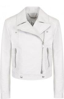 Однотонная кожаная куртка с косой молнией Givenchy
