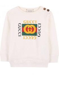 Хлопковый свитшот с логотипом бренда Gucci