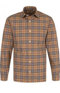 Хлопковая рубашка в клетку Burberry 3289e4b9158