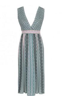 Приталенное платье-миди с V-образным вырезом M Missoni