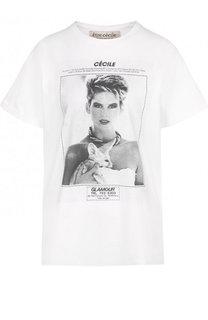 Хлопковая футболка с круглым вырезом и принтом Etre Cecile