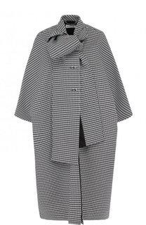 Шерстяное пальто свободного кроя в клетку с воротником аскот Balenciaga