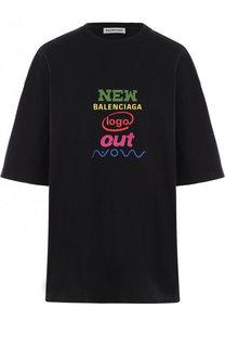 Хлопковая футболка свободного кроя с логотипом бренда Balenciaga