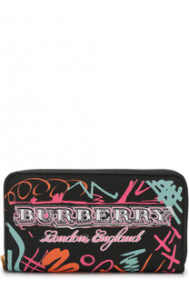 Кожаный кошелек на молнии с принтом Burberry
