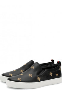 Кожаные слипоны с отделкой Gucci