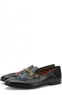 Кожаные лоферы с пряжкой-трензелем и аппликацией Gucci