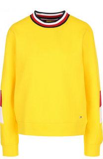 Хлопковый пуловер прямого кроя с круглым вырезом Tommy Hilfiger