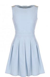 Однотонное приталенное мини-платье с юбкой в складку Blugirl