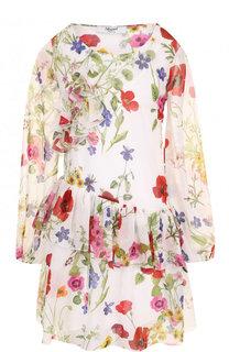 Мини-платье свободного кроя с цветочным принтом и оборками Blugirl