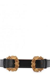 Кожаный ремень с двумя фигурными пряжками Versace