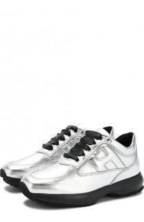 Кроссовки из металлизированной кожи на шнуровке Hogan