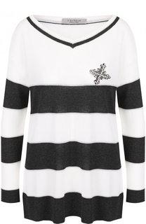Пуловер из вискозы с контрастную полоску D.Exterior