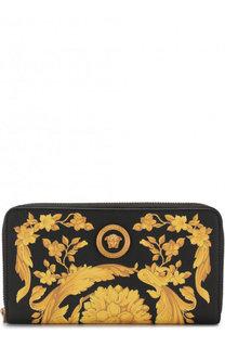 Кожаный кошелек с принтом на молнии Versace
